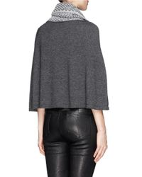 Armani - Gray Textured Knit Cowl Neck Poncho - Lyst
