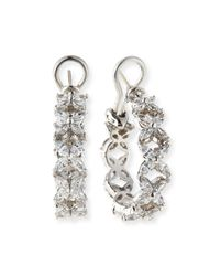 Fantasia by Deserio - Metallic Cz Flower Shaped Hoop Earrings - Lyst