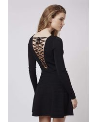 TOPSHOP - Black Rib Lace-up Dress - Lyst