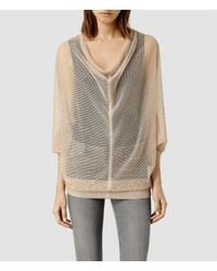 AllSaints | Natural Bishi Cowl Neck Jumper | Lyst