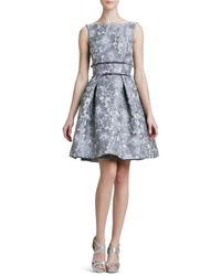 THEIA | Brown Floral Jacquard Party Dress | Lyst
