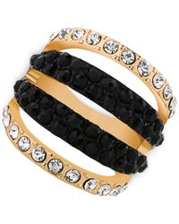 Guess | Gold-tone Black Stone And Crystal Cut-out Ring | Lyst