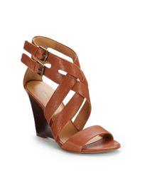 Nine West - Brown Mauren Leather Wedge Sandals - Lyst
