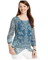 Style & Co. | Blue Printed Handkerchief-hem Top | Lyst