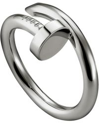 Cartier | Metallic Juste Un Clou Rhodium-plated White-gold Ring | Lyst