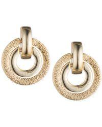 Anne Klein | Metallic Gold-tone Textured Stud Earrings | Lyst