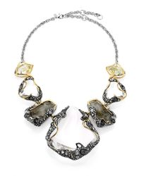 Alexis Bittar | Metallic Labradorite, White Quartz, Lucite & Crystal Vine Draped Pebble Bib Necklace | Lyst