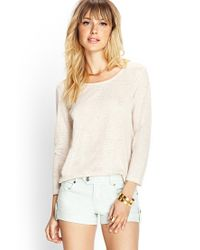 Forever 21 | Natural 3/4 Sleeve Linen Top | Lyst