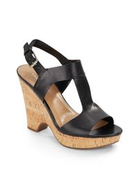 Franco Sarto | Black Gitana Leather & Cork Wedge Sandals | Lyst