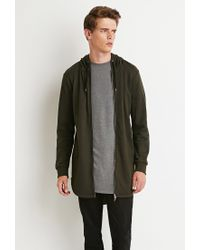 Forever 21 - Green Longline Fishtail Hoodie for Men - Lyst