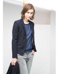 Mango - Blue Essential Cotton-Blend Blazer - Lyst