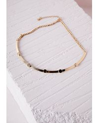Missguided   Metallic Thin Bead Detail Choker Gold   Lyst