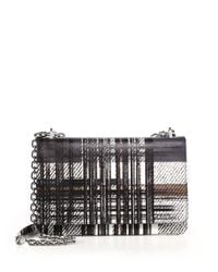 Prada - Black Saffiano Large Tartan-print Shoulder Bag - Lyst