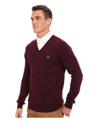 Fred Perry - Brown Classic V-neck Sweater for Men - Lyst