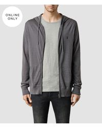 AllSaints | Gray Mode Merino Zip Hoody for Men | Lyst