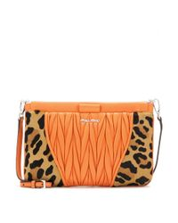 Miu Miu - Orange Leather And Calf Hair Shoulder Bag - Lyst