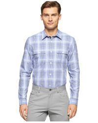 Calvin Klein | Blue Men's Plaid Shirt for Men | Lyst