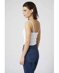 TOPSHOP - White Ribbed Crop Cami - Lyst