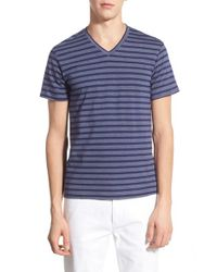 The Rail - Blue Stripe V-neck T-shirt for Men - Lyst