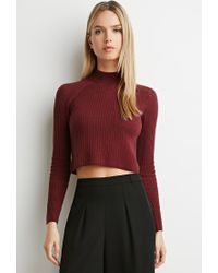 Forever 21 - Purple Ribbed Mock Neck Sweater - Lyst