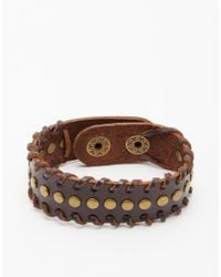 ASOS - Leather Bracelet With Studs - Brown for Men - Lyst