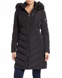 Calvin Klein | Black Faux Fur-trimmed Down Puffer Coat | Lyst