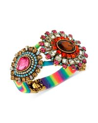 Betsey Johnson | Metallic Goldtone Multicolor Crystal Rainbowwrapped Hinge Bangle Bracelet | Lyst