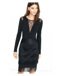 Express - Black Long Sleeve Pieced Lace Bodysuit - Lyst