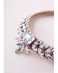 Missguided - Metallic Crystal Statement Collar Gold - Lyst