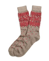 Brooks Brothers - Natural Geometric Fair Isle Crew Socks for Men - Lyst