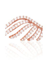 Fallon | Pink Rose Gold Cubic Zirconia Crystal Pave Wing Earrings | Lyst