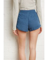 Forever 21 | Blue Zippered Pocket Drawstring Shorts You've Been Added To The Waitlist | Lyst
