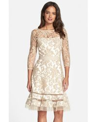 Tadashi Shoji   Natural Lace Overlay Dress   Lyst