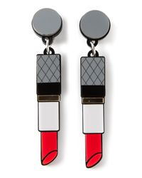 Yazbukey - Gray Lipstick Earrings - Lyst