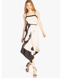 Halston Printed Asymmetric Cami Dress In Pink Buff