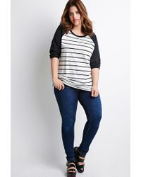 Forever 21 - Black Plus Size Striped Baseball Tee You've Been Added To The Waitlist - Lyst