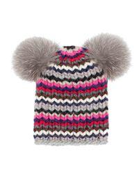 Eugenia Kim | Red Mimi Chunky Knit Skullcap W/fur Pom Poms | Lyst