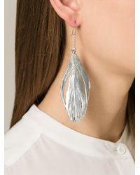 Aurelie Bidermann | Metallic 'swan' Feather Earrings | Lyst