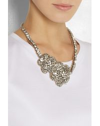 Valentino - Metallic Roses Silver-Plated Swarovski Crystal Necklace - Lyst