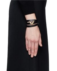 Valentino - Black 'v' Charm Leather Wrap Bracelet - Lyst
