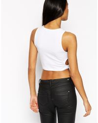 ASOS - Black Crop Top With Circle Cut Outs - Lyst