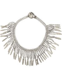 Saint Laurent | Metallic Feather-fringed Necklace-colorless | Lyst