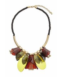 TOPSHOP - Brown Flower Shape Collar - Lyst