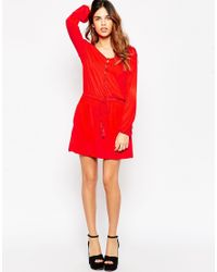 ASOS - Red Gypsy Dress With Tassle Tie - Lyst