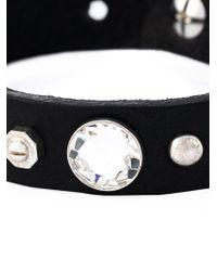 DIESEL | Black Embellished Leather Bracelet for Men | Lyst