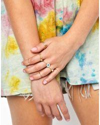 ASOS - Metallic Pretty Finger Ring Pack - Lyst