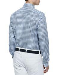 Ermenegildo Zegna - Blue Medium-Check Sport Shirt for Men - Lyst