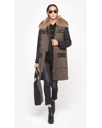 Yves Salomon - Green Leather Sleeve Parka - Lyst