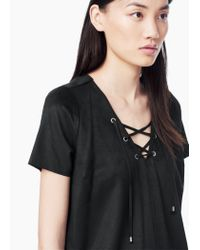 Mango - Black Drawstring Waist Dress - Lyst