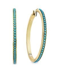 Lauren by Ralph Lauren | Blue 14k Goldplated Reconstituted Turquoise Cabochon Large Hoop Earrings | Lyst